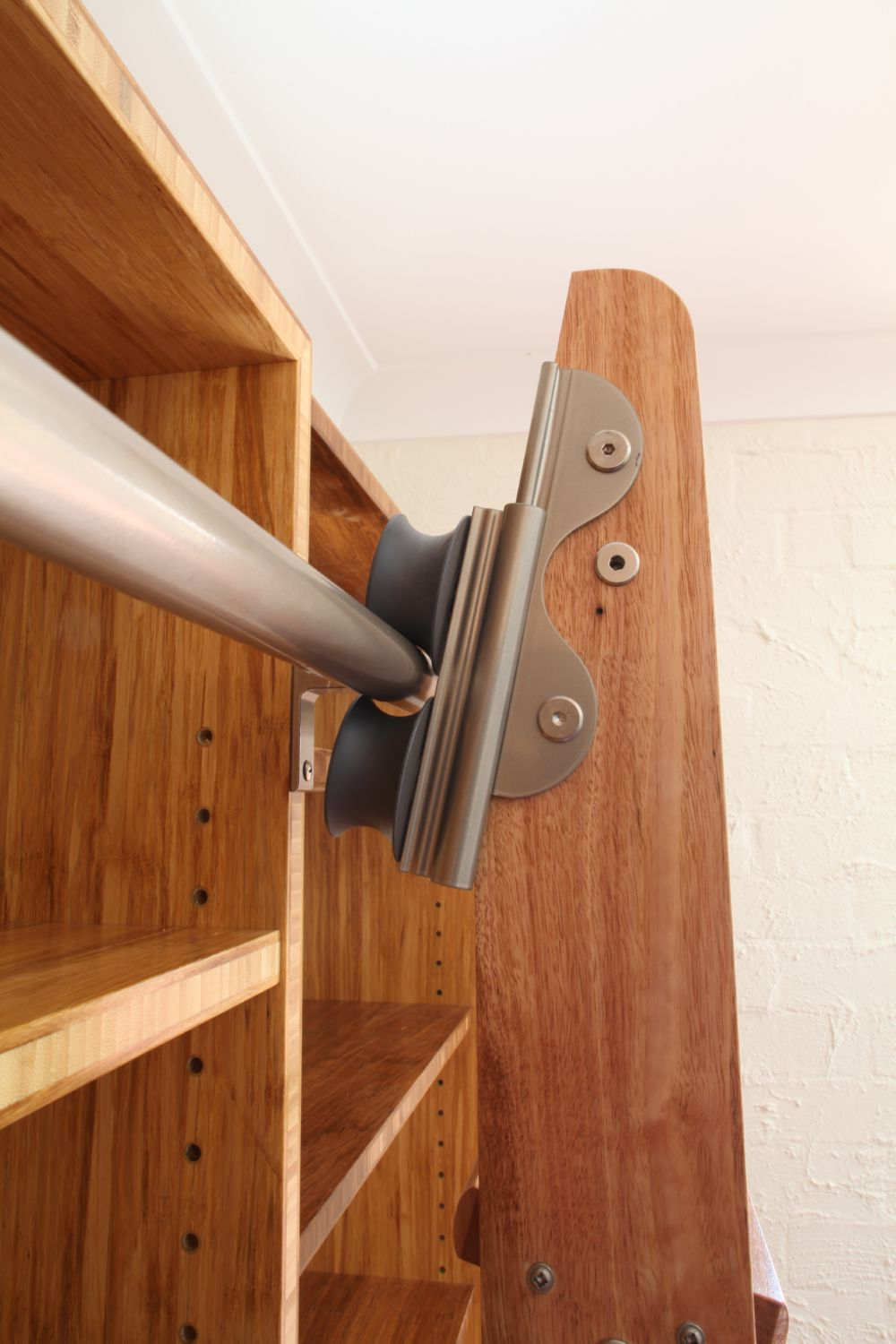 Select Custom Joinery Natural Bamboo Bookshelves With Ladder
