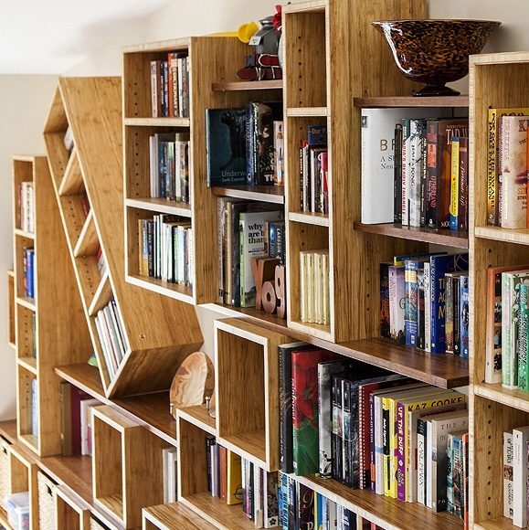 Bamboo bookshelves