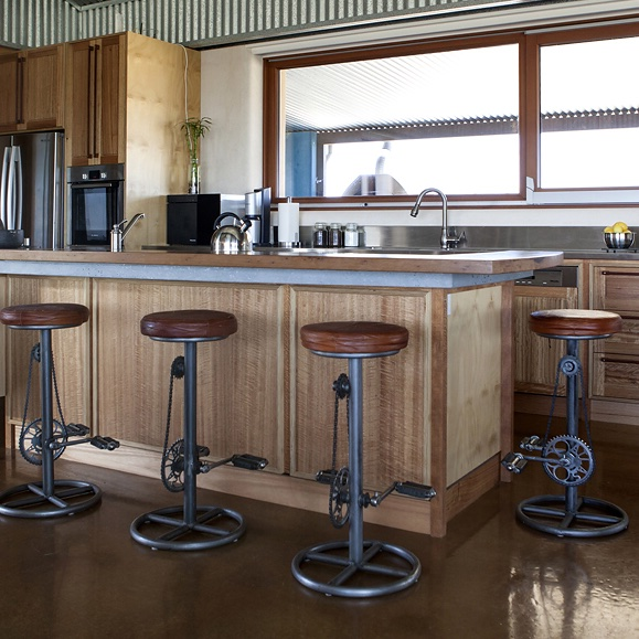 recycled timber and plywood kitchen with custom concrete benchtop